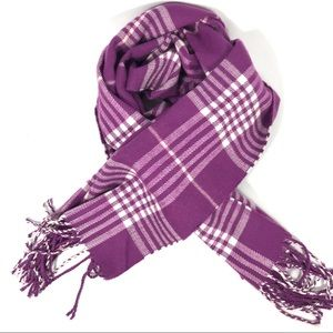 Accessories - Cashmere feel purple plaid long scarf